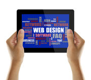 Web design word or tag cloud. On tablet screen with hand isolated on white background Stock Images