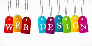 Web Design. Written with colorful tag labels Stock Image