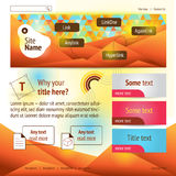 Web design wtih polygonal head background. Hot colors Royalty Free Stock Photos