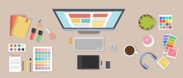 Web designer desk. Royalty Free Stock Photo
