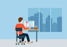Web designer programmer coder workplace modern template mockup. Web designer programmer coder on workplace over modern city blank background template mockup Royalty Free Stock Photo