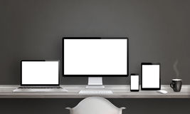 Web designer studio with different devices vector illustration