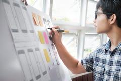 Web designer, UX UI designer planning application for mobile pho. Ne stock photos