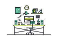 Web designer workplace line style illustration Royalty Free Stock Photo
