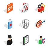Web designing icons set, isometric style. Web designing icons set. Isometric set of 9 web designing vector icons for web isolated on white background Stock Photo