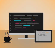 Web developer coding concept. Web developer coding  concept  . monitor with code Royalty Free Stock Image