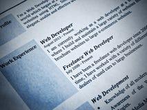 Web Developer Curriculum Vitae Stock Photo