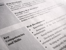 Web Developer Curriculum Vitae Royalty Free Stock Image