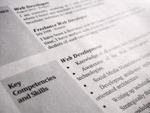 Web Developer Curriculum Vitae Royalty Free Stock Image