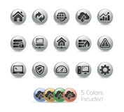 Web Developer Icons -- Metal Round Series Stock Photos