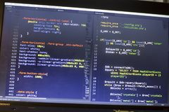 Web developer PHP and CSS3/LESS/SASS code close up. Database connecting code Royalty Free Stock Images