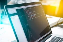 Web Developer's laptop. Code Stock Photography