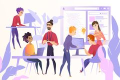 Web Developers Team at Work Vector Concept royalty free illustration