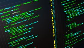 Web developing on the php language. Green macro php code on dark background. Web developing on the php language. Macro php code on dark background royalty free stock image