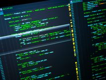Web developing of the site using php language. Php code in the editor, macro stock photography