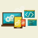 Web development. Flat modern illustration, web design development, vector eps 10 Royalty Free Stock Photography