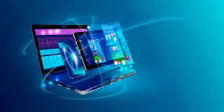 Free Web Development And Coding. Cross Platform Development Website. Adaptive Layout Internet Page Or Web Interface On Screen Laptop, Stock Image - 134785031