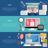 Web Development Banner Set stock illustration