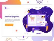 Web development banner vector illustration