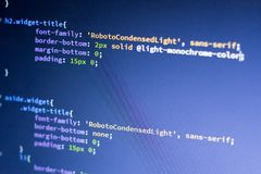 Web development code: CSS/LESS styles preprocessor script lines. Abstract screen of web developer royalty free stock images