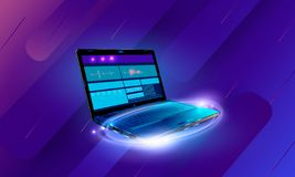 Web development and coding. Cross platform development website. Adaptive layout internet page or web interface on screen. Laptop, tablet and phone vector illustration