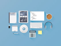 Web development coding flat icon set vector illust Stock Photography