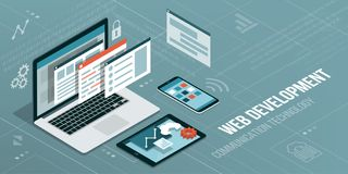 Web development and coding. Laptop with virtual interactive screens and mobile devices Royalty Free Stock Photography