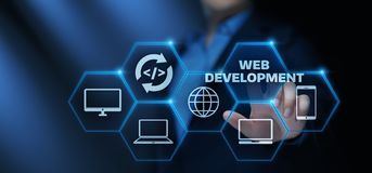 Web Development Coding Programming Internet Technology Business concept stock photos