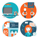 Web development, comminication and marketing flat stock illustration