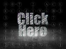 Web development concept: Click Here in grunge dark Stock Photos