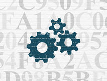 Web development concept: Gears on wall background Stock Images