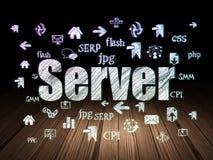 Web development concept: Server in grunge dark room Stock Photo