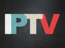 Web development concept: IPTV on School Board. Web development concept: Painted multicolor text IPTV on School Board background, 3d render royalty free stock images