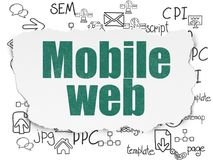 Web development concept: Mobile Web on Torn Paper background. Web development concept: Painted green text Mobile Web on Torn Paper background with  Hand Drawn Stock Images