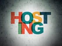 Web development concept: Hosting on Digital Data Paper background Stock Photo