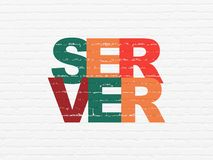 Web development concept: Server on wall background. Web development concept: Painted multicolor text Server on White Brick wall background stock images