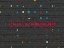 Web development concept: Download on wall background. Web development concept: Painted red text Download on Black Brick wall background with Hexadecimal Code Royalty Free Stock Image