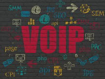 Web development concept: VOIP on wall background. Web development concept: Painted red text VOIP on Black Brick wall background with Scheme Of Hand Drawn Site Royalty Free Stock Photos
