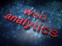 Web development concept: Red Web Analytics on. Digital background, 3d render stock image