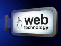 Web development concept: Web Technology and Mouse Cursor on billboard background. Web development concept: Web Technology and Mouse Cursor on advertising Royalty Free Stock Photos