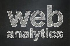 Web development concept: Web Analytics on chalkboard background Royalty Free Stock Photos