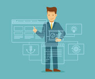 Web development concept. Vector illustration in flat and linear style - web development concept - man building program and app on the touch screen Royalty Free Stock Image