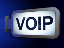 Web development concept: VOIP on billboard background. Web development concept: VOIP on advertising billboard background, 3D rendering Royalty Free Stock Photos