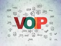 Web development concept: VOIP on Digital Data Paper background. Web development concept: Painted multicolor text VOIP on Digital Data Paper background with  Hand Stock Photo