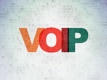 Web development concept: VOIP on digital. Web development concept: Painted multicolor text VOIP on Digital Paper background, 3d render stock image