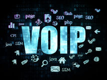 Web development concept: VOIP on Digital. Web development concept: Pixelated blue text VOIP on Digital background with Hand Drawn Site Development Icons, 3d stock photos