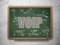 Web development concept: VOIP on School Board. Web development concept: Chalk Pink text VOIP on School Board background with Scheme Of Hand Drawn Site stock photos