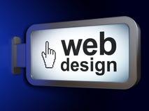 Web development concept: Web Design and Mouse Cursor on billboard background. Web development concept: Web Design and Mouse Cursor on advertising billboard Stock Photography