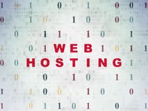 Web development concept: Web Hosting on Digital. Web development concept: Painted red text Web Hosting on Digital Paper background with Binary Code, 3d render stock images