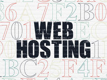 Web development concept: Web Hosting on wall. Web development concept: Painted black text Web Hosting on White Brick wall background with Hexadecimal Code, 3d stock image